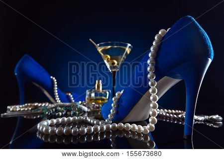 Blue Velvet Shoes , Martini And Jewelry