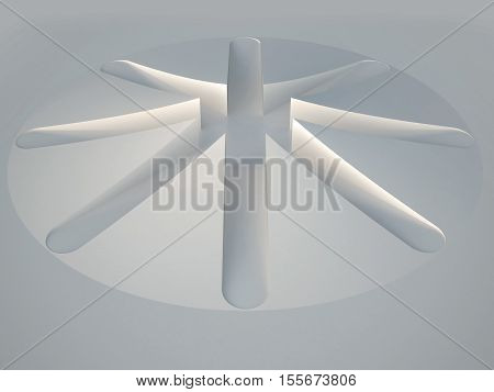 3d illustration. White symmetrical abstract architectural background. The circle divided into eight sectors. Sacred geometry render.
