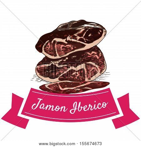 Jamon Iberico colorful illustration. Vector illustration of Spanish cuisine.