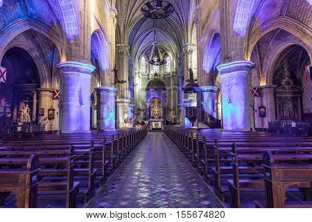 Church Notre Dame du bon port in Les Sables d'Olonne France - 3 November 2016