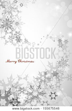 Christmas silver background with snowflakes and decent blue Merry Christmas text - vertical version