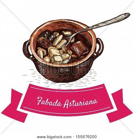 Fabada asturiana colorful illustration. Vector illustration of Spanish cuisine.