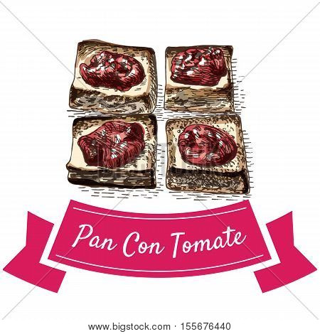 Pan con tomate colorful illustration. Vector illustration of Spanish cuisine.
