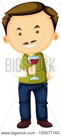 Winemaker holding wine glass in hand illustration
