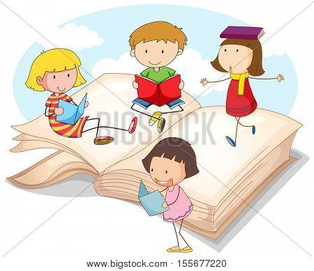Many children reading books illustration