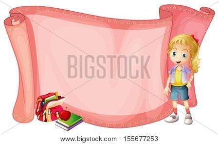 Paper template with little girl and  schoolbag illustration
