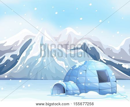 Scene with igloo on snow ground illustration