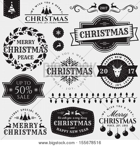 Christmas and New Year decorative elements isolated on white background. Set of typography badges for greeting card sale label page and web decoration or other holiday design. Vector illustration.