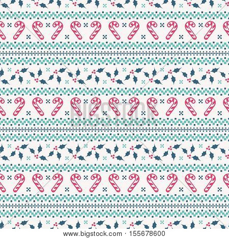 Merry Christmas and Happy New Year! Cute seamless background with candy cane and holly. Knitted patterns in white blue and pink colors. Vector illustration.