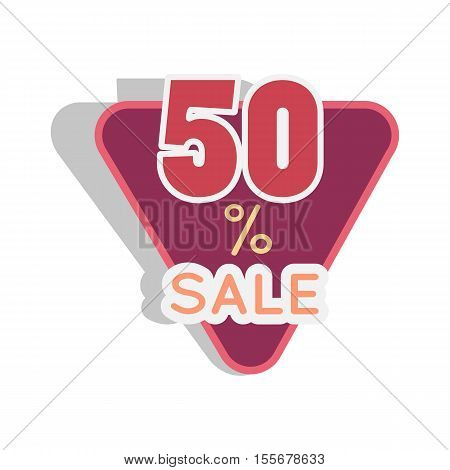 Sale sticker vector illustration. Flat style. triangular bright sticker with fifty percent discount. For store goods sales advertising. Product label design. Black friday. On white background