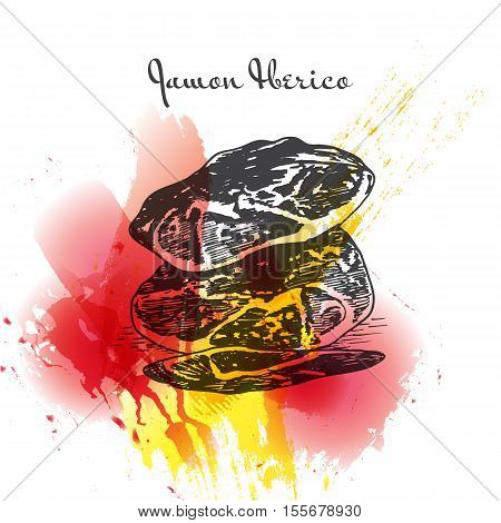 Jamon Iberico colorful watercolor effect illustration. Vector illustration of Spanish cuisine.