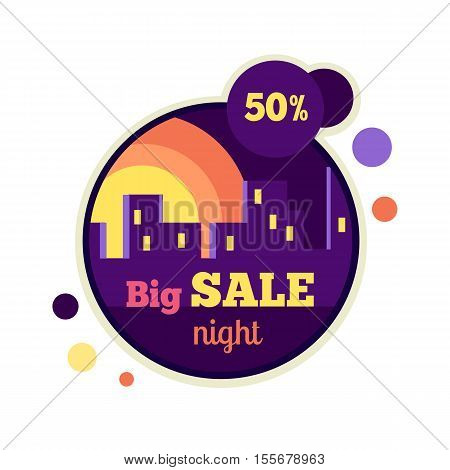 Big night sale round banner isolated. 50 percent off price discount. Sale at night in the urban city. Night building silhouette on the background. Advertising coupon badge label and sticker. Vector