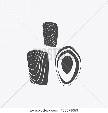 Salmon steak vector monochrome variant. Fresh sea food concept illustration for packaging, logos, and patterns. Healthy eating marine products. Bright red salmon steak on blue background.