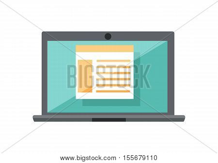 Gray laptop with spreadsheet on blue screen. Open laptop flat icon. Laptop with infographics. Concept of online business, commerce, statistics, information. Isolated vector illustration in flat