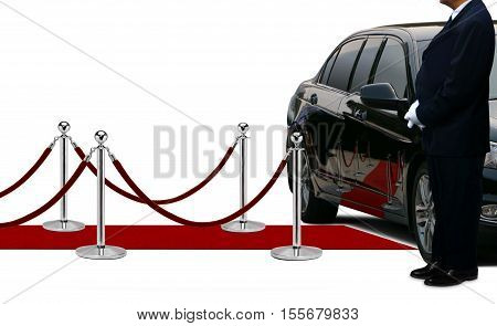 Driver waiting and standing next to the limousine