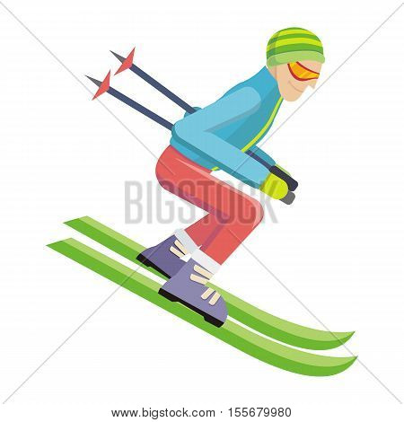 Skier isolated on white. Person skiing flat style design. Skis isolated. Winter season recreation winter sport activity. Slalom sport ski race. Athlete on the downhill. Extreme speed skiing. Vector poster