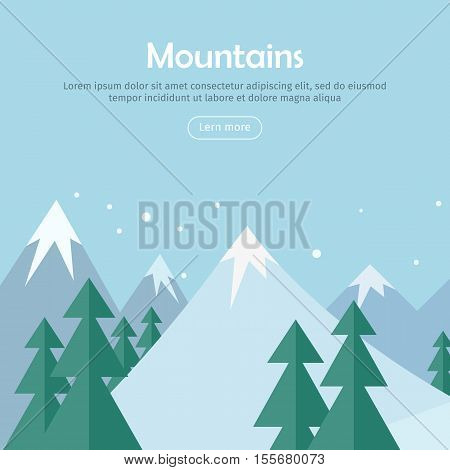 Mountains landscape web banner. Mountaineering mountain climbing Alpinism concept. Extreme hills in snowy high mountains. Sport season winter holiday resort. Blue sky and crystal white snow. Vector