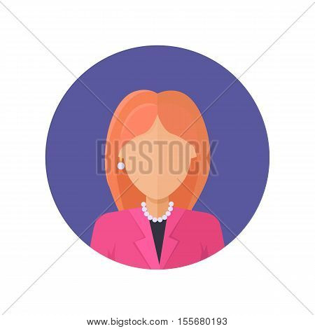 Woman character avatar vector in flat style design. Red-head female personage portrait icon in blue circle. Illustration for concepts, app pictograms, infographic. Isolated on white background.