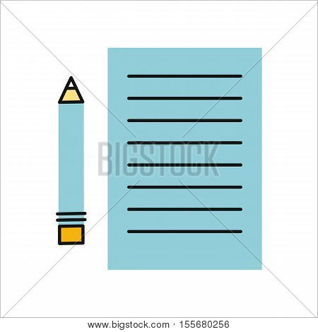 Drawing in pencil on sheet paper. Sheet paper with list. Sheet paper with pencil. Design element, icon in flat. Isolated object on white background. Vector illustration.