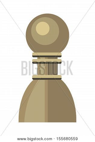 Pawn vector in flat style. Wooden or plastic chess figure. Chessman. Board game. Intellectual sport. Illustration for business strategy, career concepts. Isolated on white background