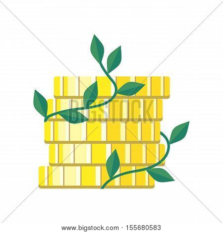 Plant growth from money coin stack isolated on white. Icon of business and creativity. Business investment growth concept. Strategic management. Money deposits to bank sign. Vector design illustration
