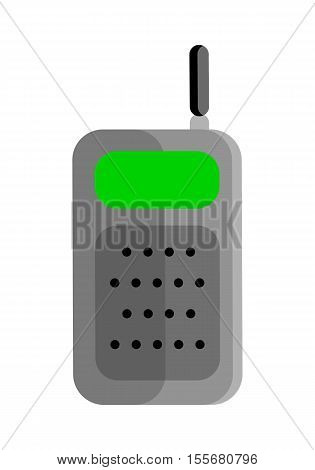 Mobile radio vector illustration in flat style design. Equipment for tourists, police, builders, drivers communication. Personal portable radio illustration. Isolated on white background.