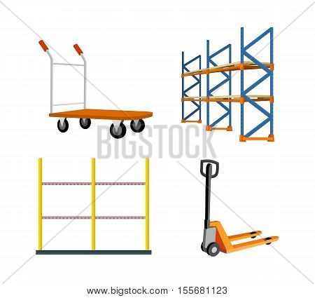 Set of warehouse tools vector. Heavy hand pullet truck, racks, hydraulic trolley jack illustrations for delivery, equipment trading companies and services advertising. Isolated on white background.
