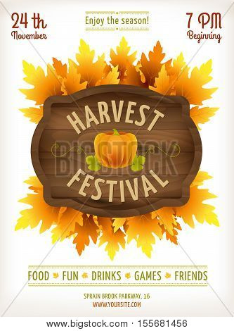 Harvest festival poster. Fall party invitation design. Thanksgiving day - american traditional holiday. Autumn pumpkin leaves vector illustration. Wooden sign board. Fun fall festival harvest flyer.