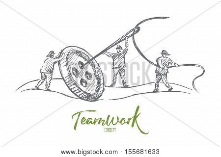Vector hand drawn teamwork concept sketch. People trying to sew big button with huge needle together. Lettering Teamwork concept