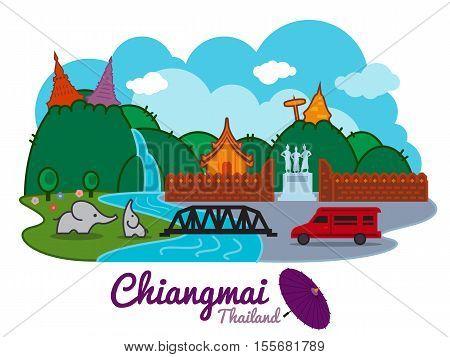 Chiangmai city of thailand - cartoon landmark traval location vector design