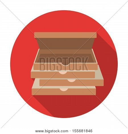 Pizza boxes icon in flat style isolated on white background. Pizza and pizzeria symbol vector illustration.