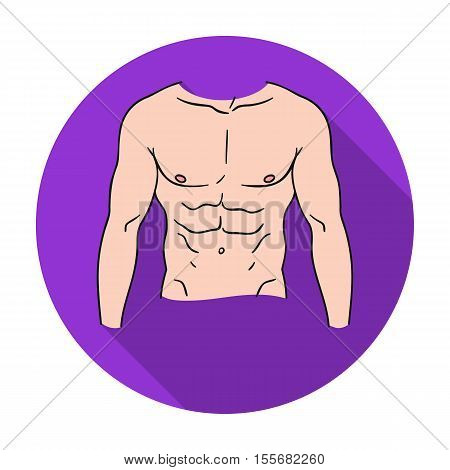 Muscular torso icon in flat style isolated on white background. Sport and fitness symbol vector illustration.
