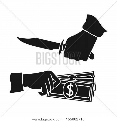 Robbery icon in black style isolated on white background. Crime symbol vector illustration.