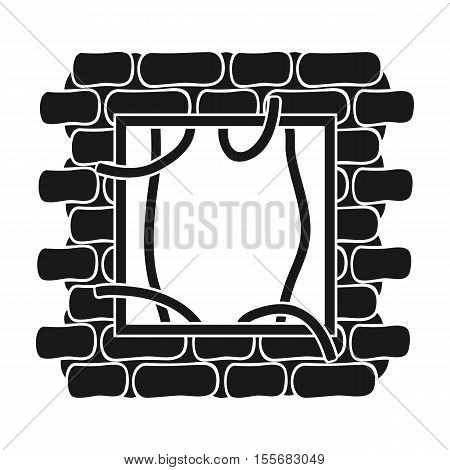 Prison escape icon in black style isolated on white background. Crime symbol vector illustration.