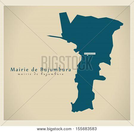 Modern Map - Mairie de Bujumbura BI vector illustration high res