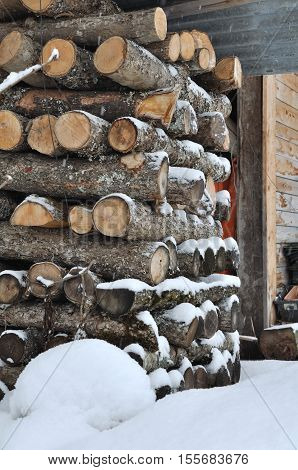 close on storage of a woodpile in snow