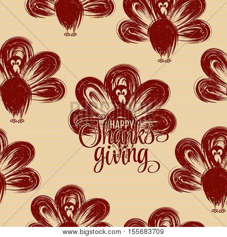 Hand drawn turkey silhouettes seamless pattern. Happy thanksgiving hand lettering. Butcher shop design template for craft meat package. Seamless packaging background. Vector illustration. Old paper
