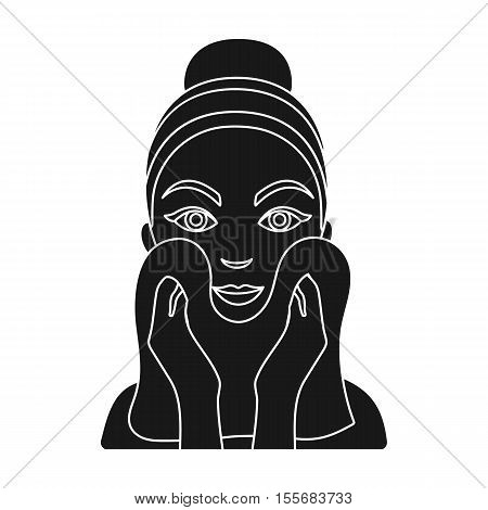 Cleaning of face skin icon in black style isolated on white background. Skin care symbol vector illustration.