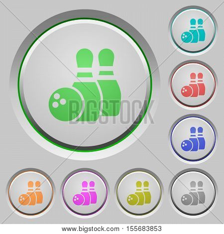 Bowling color icons on sunk push buttons
