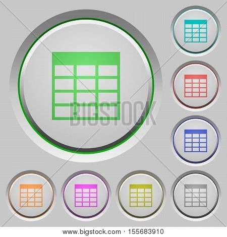 Spreadsheet table color icons on sunk push buttons
