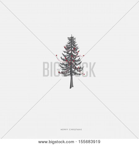 Christmas illustration greeting card template with pine Christmas tree with red decoration.
