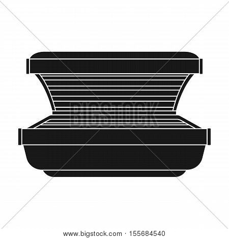 Tanning bed icon in black style isolated on white background. Skin care symbol vector illustration.