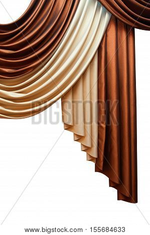 Part of beautifully draped curtain isolated on white background.