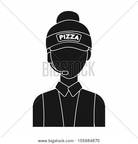 Saleswoman icon in black style isolated on white background. Pizza and pizzeria symbol vector illustration.