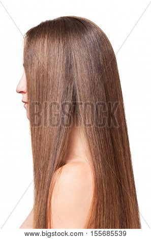 Woman with long straight hair, manicured side isolated on white background.