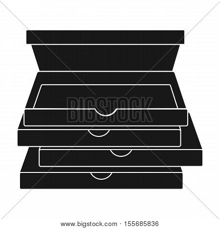 Pizza boxes icon in black style isolated on white background. Pizza and pizzeria symbol vector illustration.