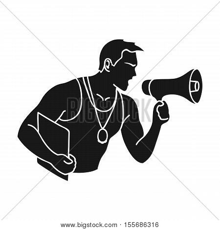 Personal trainer icon in black style isolated on white background. Sport and fitness symbol vector illustration.