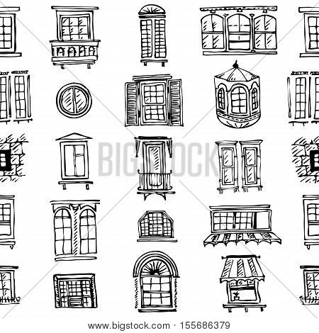 plurality of contours of classical window frames and windows