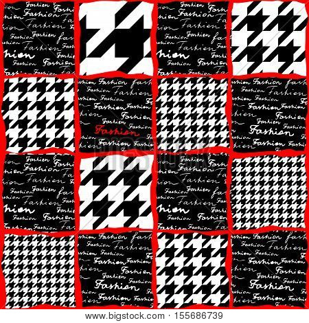 Collage with the lettering of Fashion and houndstooth pattern. Seamless background