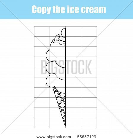 Grid copy game, complete the picture educational children game. Printable kids activity sheet with ice cream. learning Symmetry drawing